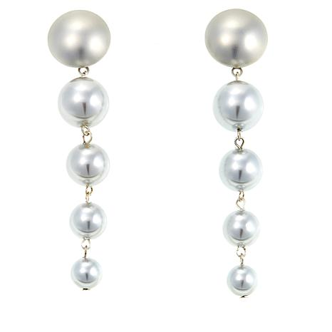 Touch of Cyn Gray Simulated Pearl Linked Drop Earrings