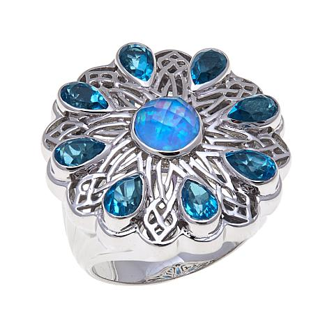 Traveler's Journey Blue Quartz Doublet Floral Ring