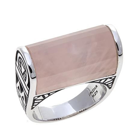 Traveler's Journey Rose Quartz Bar Sterling Silver Ring