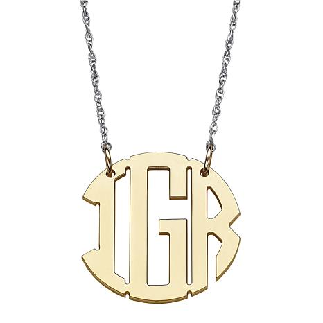 Two-Tone Gold-Plated Sterling Monogram Necklace