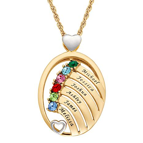Two-Tone Oval Name And Birthstone Crystal Hearts Pendant