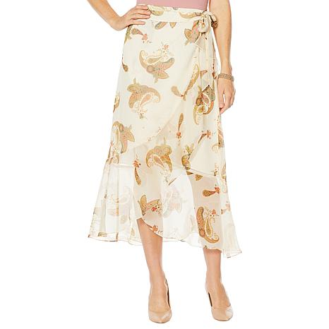 Vince Camuto Paisley Spice Wrap Skirt