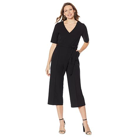 Vince Camuto Short Sleeve Stretch Crepe Cropped Jumpsuit