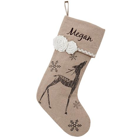 Vintage Linen Snowflake Reindeer Personalized Stocking