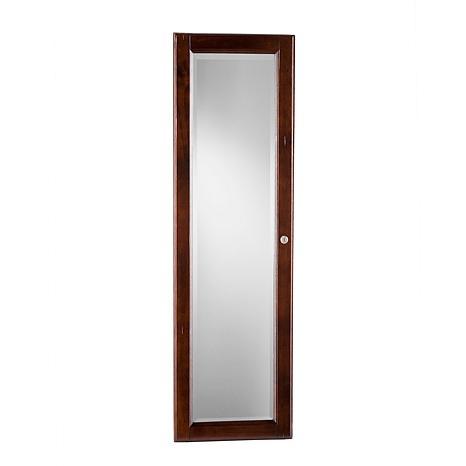 Wall Mount Mirror wall-mount jewelry mirror - warm brown walnut - 6221941 | hsn