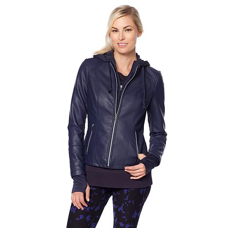Warrior by Danica Patrick Faux Leather Jacket with Hood