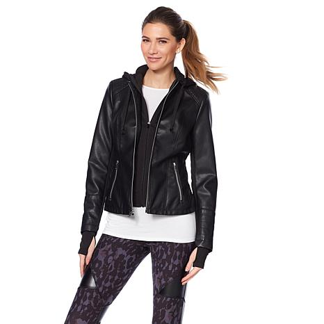Warrior by Danica Patrick Faux Leather Jacket with Removable Hood ...