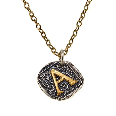 """Waxing Poetic® """"Century Insignia"""" 2-Tone Initial Pendant with Chain"""