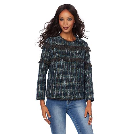 Wendy Williams Boucle Fringe Pullover Top