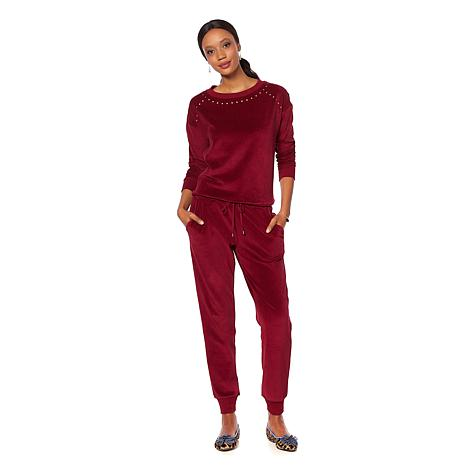Wendy Williams Embellished Velour Jog Set