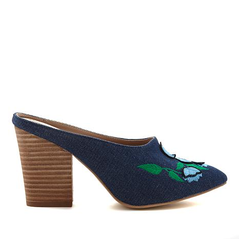 Wendy Williams Embroidered Mule with Block Heel
