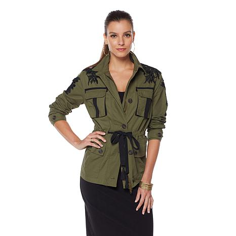 Wendy Williams Military Jacket with Lace Detail