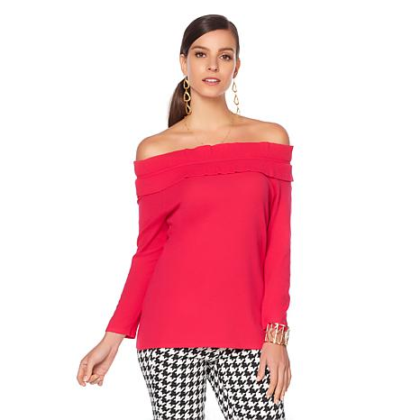 Wendy Williams Off-the-Shoulder Ruffle Sweater