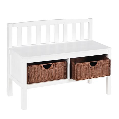 White Bench with Brown Rattan Baskets
