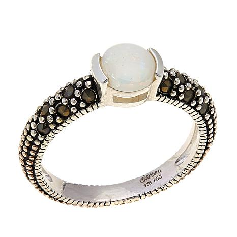 White Opal and Marcasite Sterling Silver Ring - October