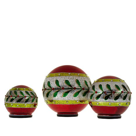 Wind & Weather 3-pack Lit Holiday Glass Globes