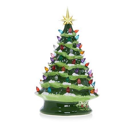 """Winter Lane 14"""" LED Lighted Ceramic Musical Christmas Tree"""