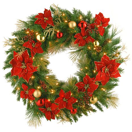 "Winter Lane 36"" Decorative Coll. Home Wreath w/Lights"