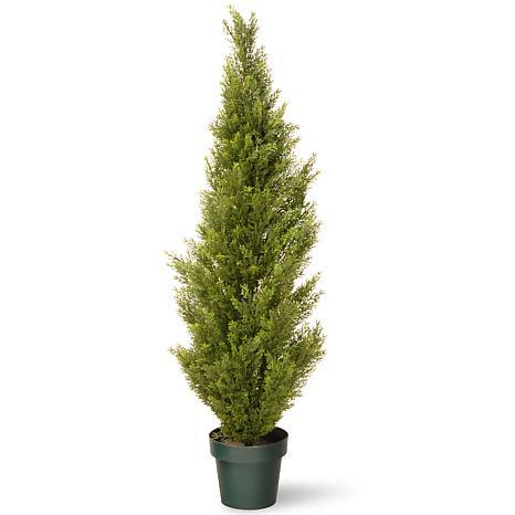Winter Lane 4' Artificial Topiary Arborvitae Tree in Base