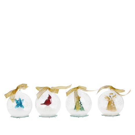 Winter Lane 4-pack Illuminated Glass Globes with Gift Boxes & Bags
