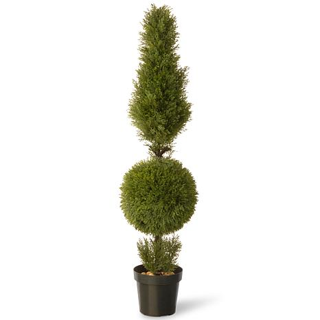 Winter Lane 5' Artificial Topiary Juniper Tree in Base