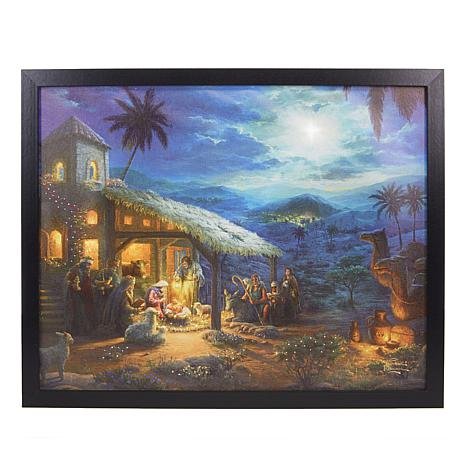 Winter Lane Fiber-Optic Canvas Art w/Remote - The Nativity