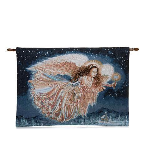 "Winter Lane Guardian Angel Fiber-Optic Christmas Tapestry with 40"" Rod"