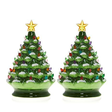 Pictures Of Christmas Trees.Exclusive Winter Lane Set Of 2 Lighted Musical Ceramic Christmas Trees