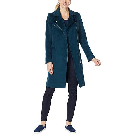 With the Girls by ALF Faux Wool Moto Coat