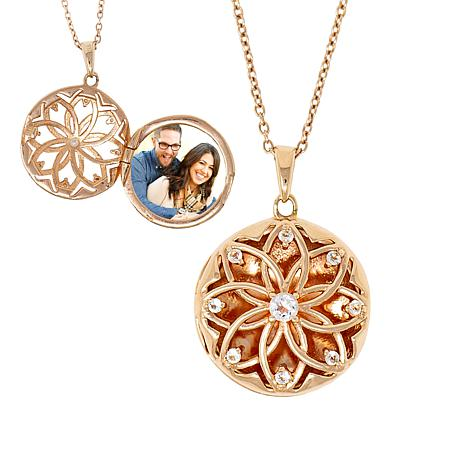 """With You Lockets™ Rose Gold-Plated """"Helen"""" White Topaz Locket"""