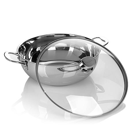 """Wolfgang Puck 12"""" Stainless Steel Chef's Pot with Lid 