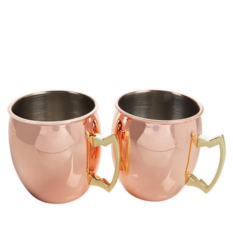 Wolfgang Puck Set of 2 18oz. Copper-Plated Mule Mugs