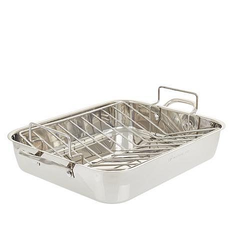 """Wolfgang Puck Stainless Steel 16"""" Roaster With V Rack"""