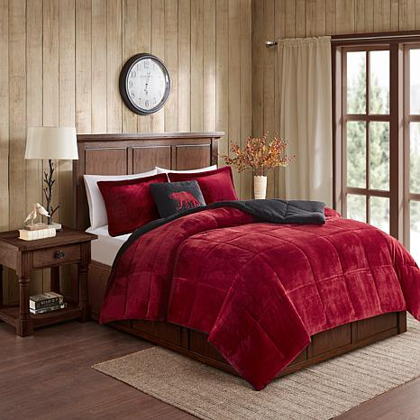 Woolrich Alton 3-piece Red/Black Plush to Sherpa Twin Comforter Set