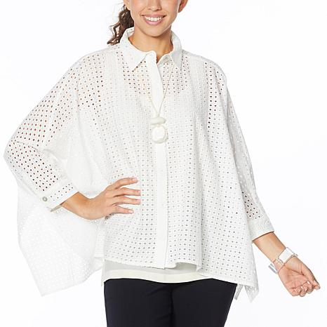 WynneLayers Unconstructed Eyelet Shirt