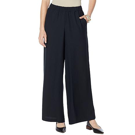 WynneLayers Wide-Leg Crepe Pull-On Pant