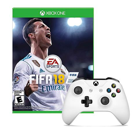 xbox one white wireless controller with fifa 18 game 8565126 hsn. Black Bedroom Furniture Sets. Home Design Ideas