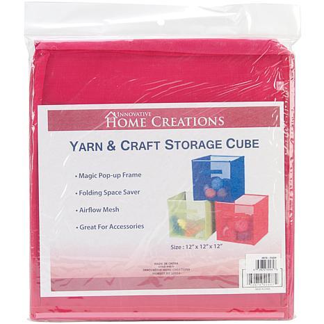 """Yarn and Craft Storage 12"""" Cube - Fuchsia"""