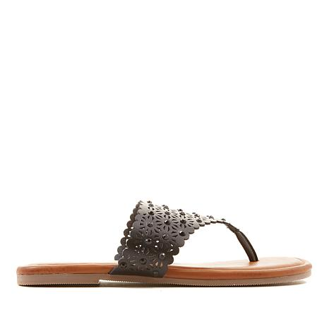 Yellow Box Tessie Lasercut Embellished Thong Sandal