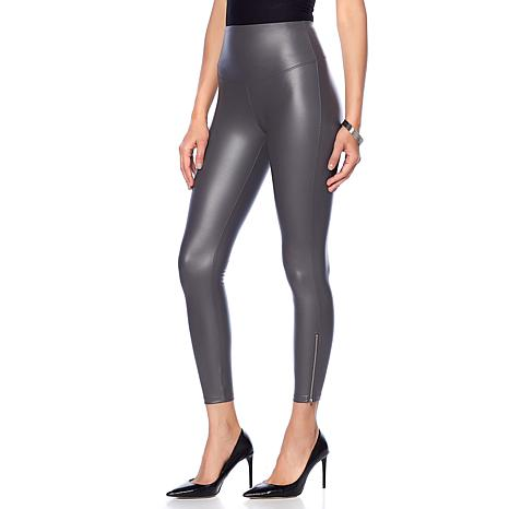Yummie Faux Leather Legging with Zipper Detail
