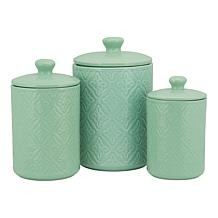 10 Strawberry Street Medallion Embossed 3-piece Canister Set - Sage
