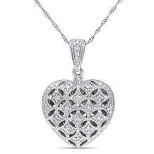 10k Locket Heart Pendant With Chain And Diamonds