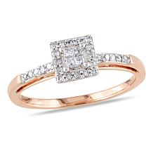 10K Rose Gold 0.19ctw White Diamond Engagement Ring