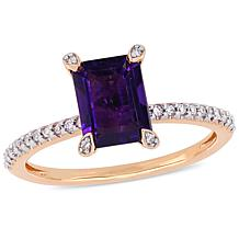 10K Rose Gold Diamond-Accented Amethyst Engagement Ring