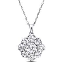 """10K White Gold 2.50ctw Moissanite Floral Pendant with 17"""" Chain"""