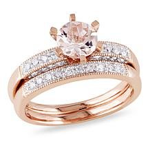 1.19ctw Morganite and White Diamond Wedding Band 2pc Set