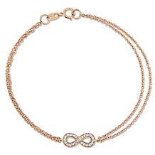 "14K Rose Gold 0.12ctw Diamond Infinity-Design 7"" Bracelet"
