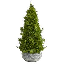 18 in. Cypress Cone Artificial Tree in Decorative Planter