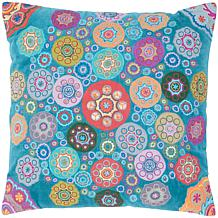 "18"" x 18"" Embroidered Velvet Wheels Pillow - Teal/Blue"