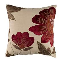 18 x 18 Fall Floral Pillow - Beige/Red